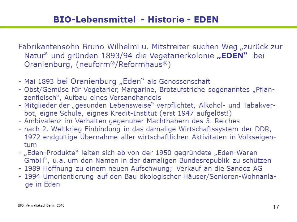 BIO-Lebensmittel - Historie - EDEN
