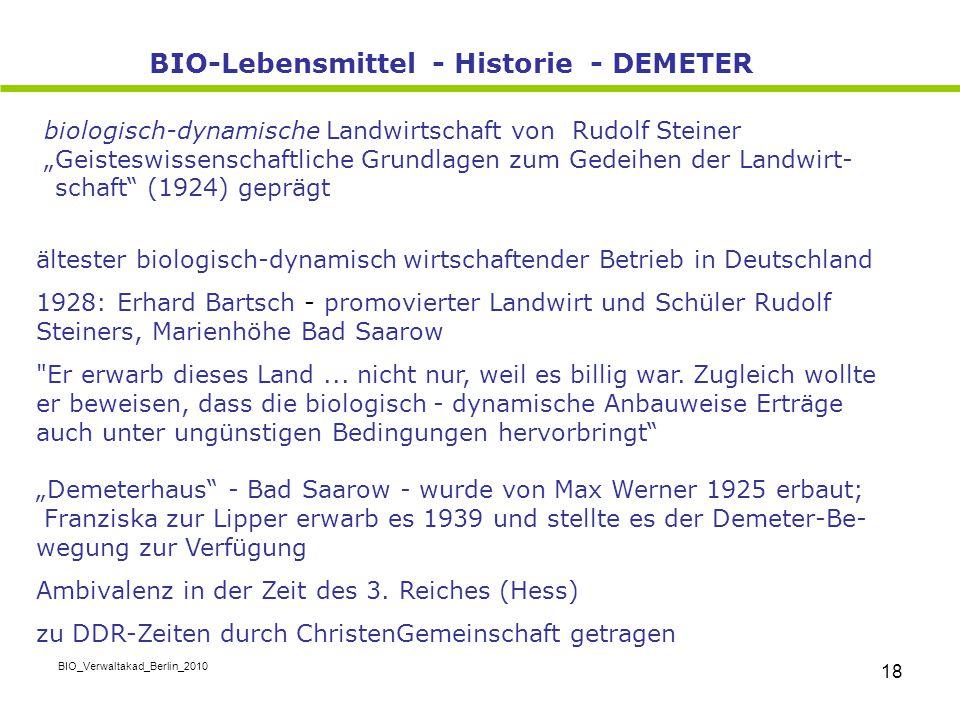 BIO-Lebensmittel - Historie - DEMETER