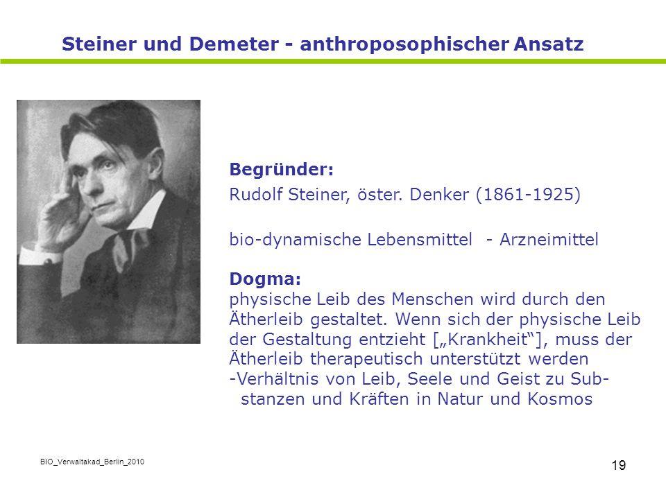 Steiner und Demeter - anthroposophischer Ansatz