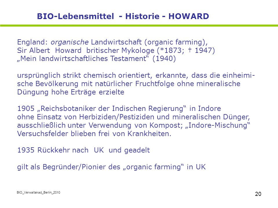 BIO-Lebensmittel - Historie - HOWARD