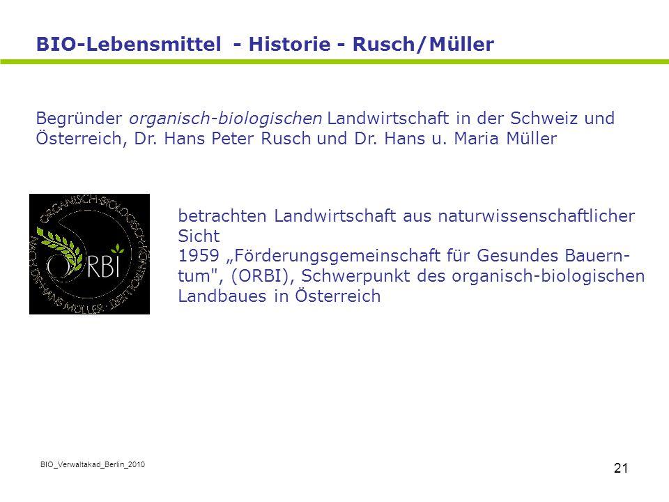 BIO-Lebensmittel - Historie - Rusch/Müller