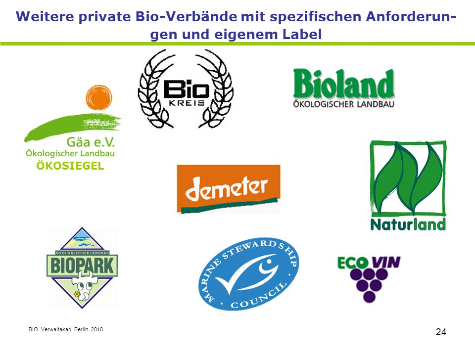 Weitere private Bio-Verbände mit spezifischen Anforderun-gen und eigenem Label
