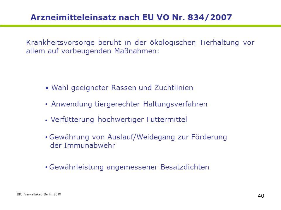 Arzneimitteleinsatz nach EU VO Nr. 834/2007