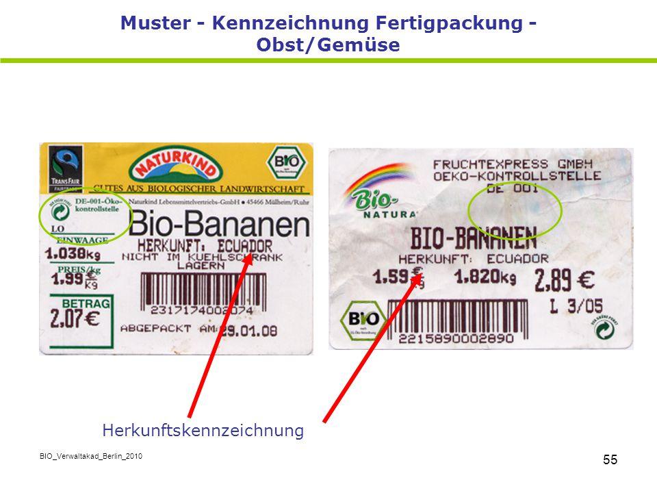 Muster - Kennzeichnung Fertigpackung - Obst/Gemüse