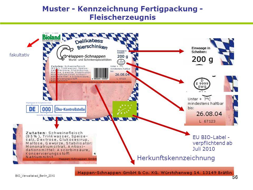 Muster - Kennzeichnung Fertigpackung -Fleischerzeugnis
