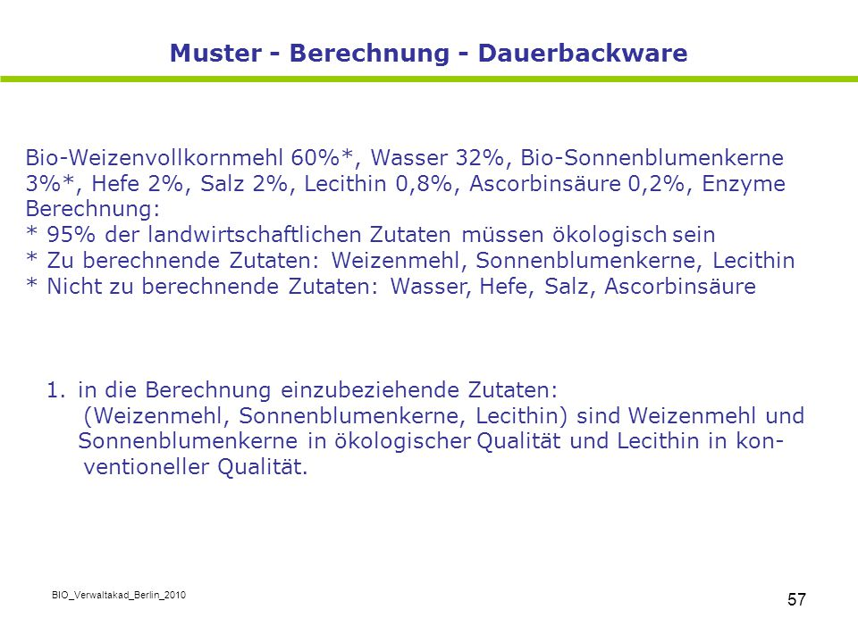 Muster - Berechnung - Dauerbackware