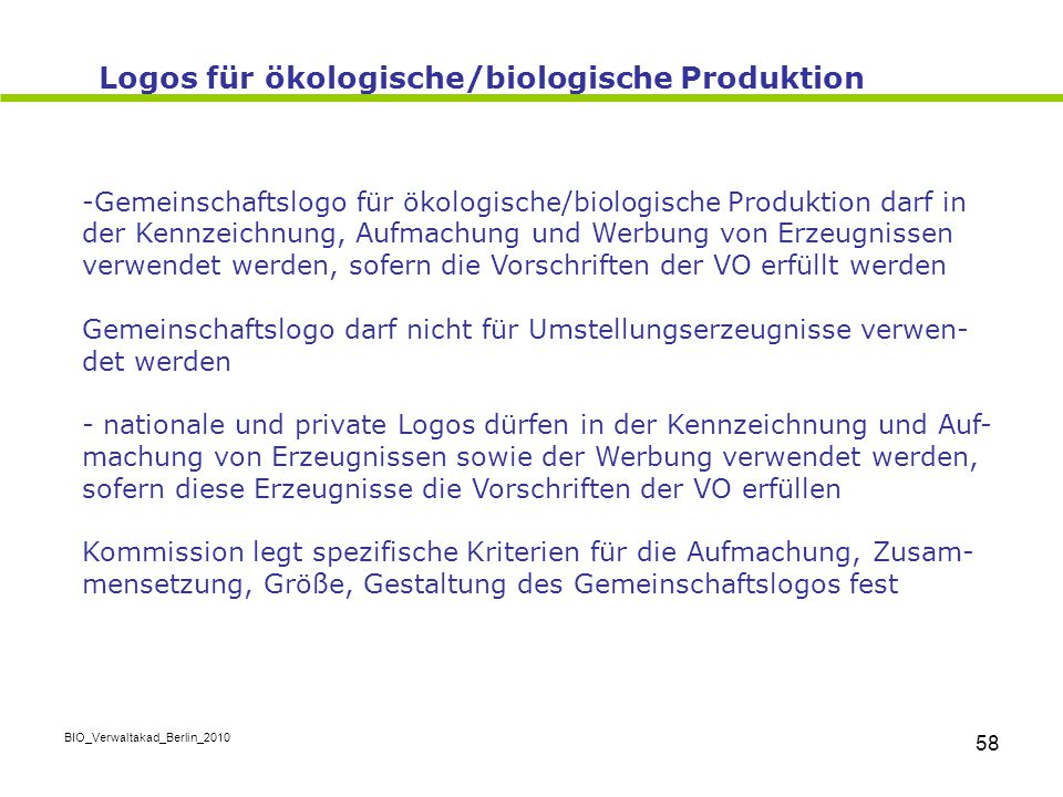 Logos für ökologische/biologische Produktion