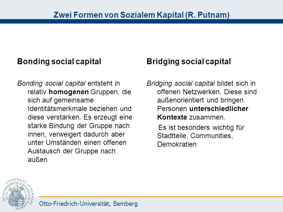 Zwei Formen von Sozialem Kapital (R. Putnam)
