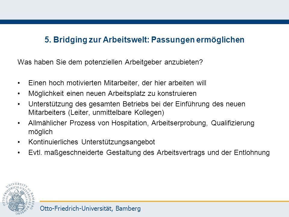 5. Bridging zur Arbeitswelt: Passungen ermöglichen