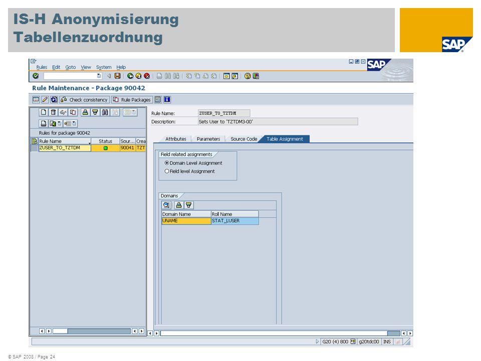 IS-H Anonymisierung Tabellenzuordnung