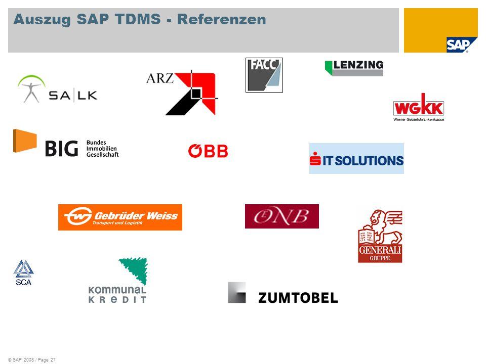 Auszug SAP TDMS - Referenzen