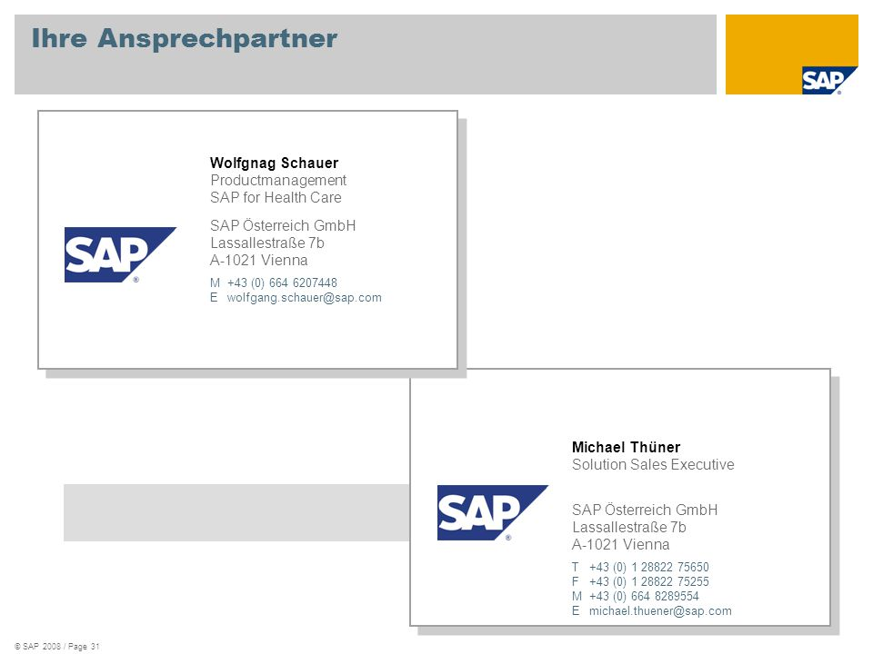 Ihre Ansprechpartner Productmanagement SAP for Health Care