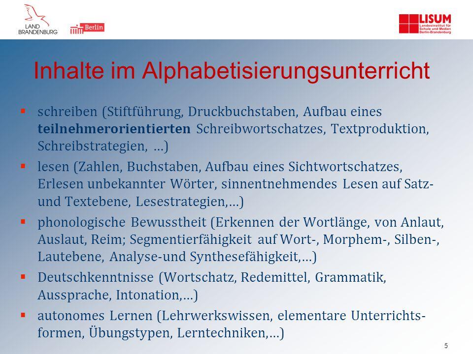 Inhalte im Alphabetisierungsunterricht
