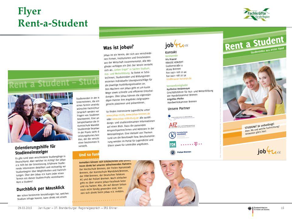 Flyer Rent-a-Student 09.04.2017 Jan Kuper – 37. Brandenburger Regionalgespräch – IRS Erkner