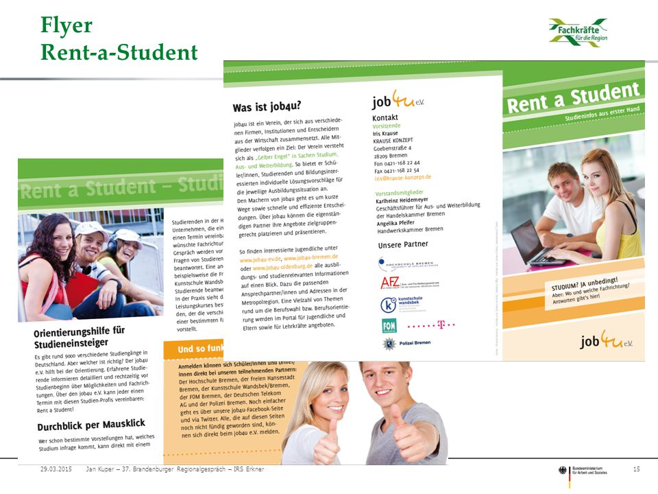 Flyer Rent-a-Student Jan Kuper – 37. Brandenburger Regionalgespräch – IRS Erkner