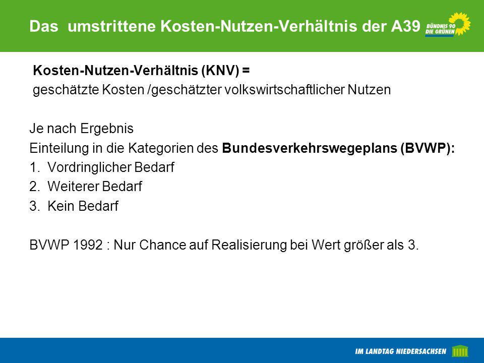 Das umstrittene Kosten-Nutzen-Verhältnis der A39