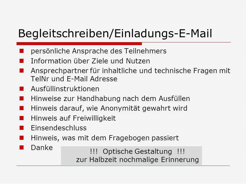 Begleitschreiben/Einladungs-E-Mail