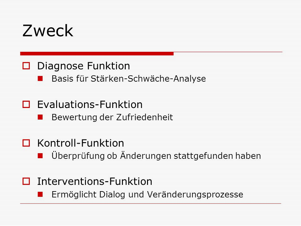 Zweck Diagnose Funktion Evaluations-Funktion Kontroll-Funktion