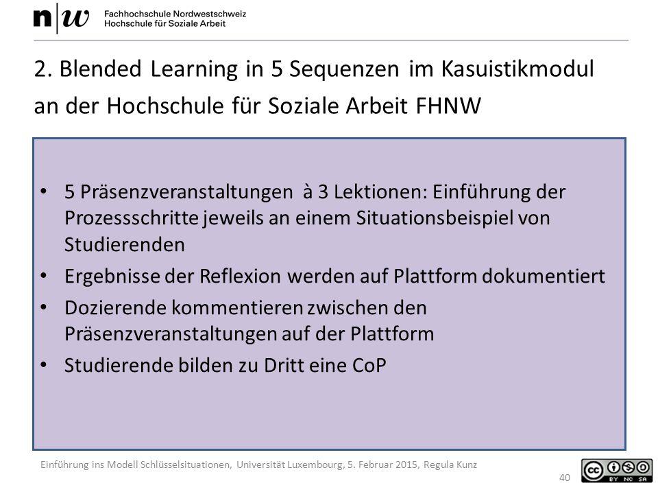 2. Blended Learning in 5 Sequenzen im Kasuistikmodul an der Hochschule für Soziale Arbeit FHNW