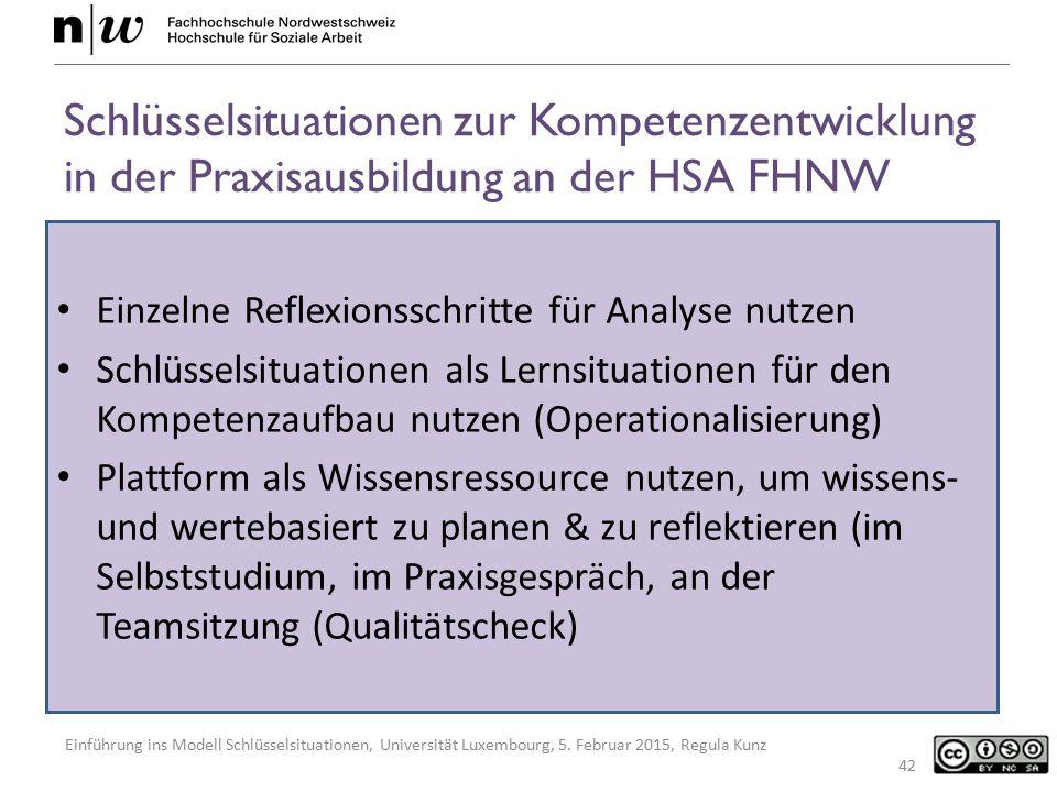 Schlüsselsituationen zur Kompetenzentwicklung in der Praxisausbildung an der HSA FHNW