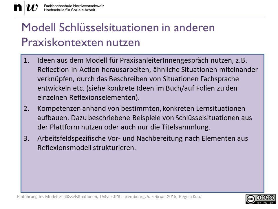 Modell Schlüsselsituationen in anderen Praxiskontexten nutzen