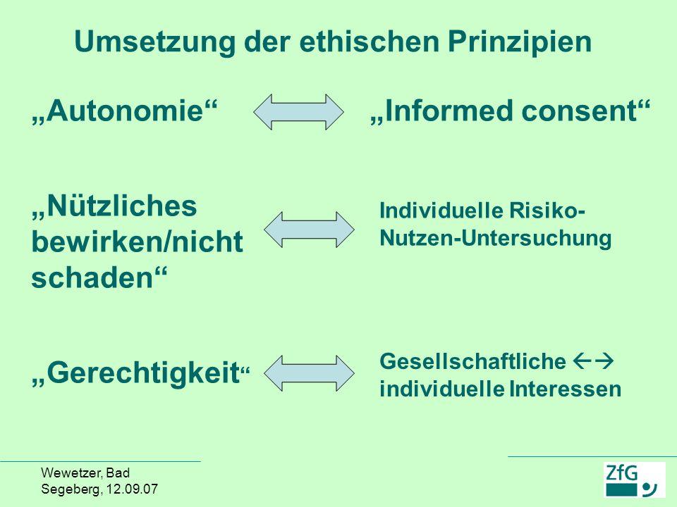 Umsetzung der ethischen Prinzipien