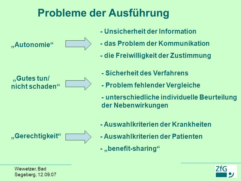 Probleme der Ausführung