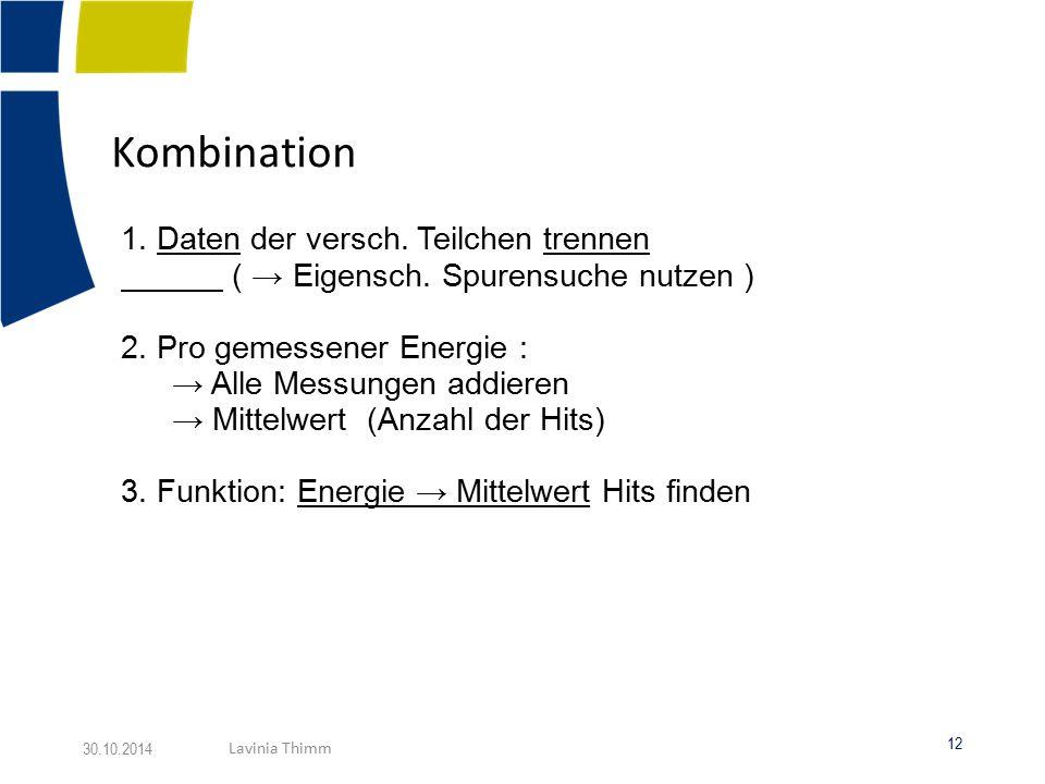 Kombination 1. Daten der versch. Teilchen trennen
