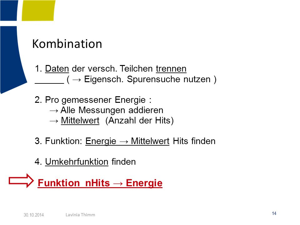 Kombination Funktion nHits → Energie