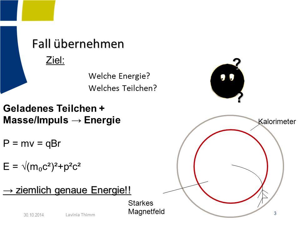 Fall übernehmen Ziel: Geladenes Teilchen + Masse/Impuls → Energie