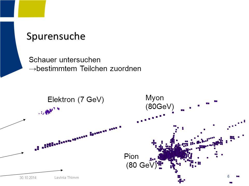 Spurensuche Schauer untersuchen →bestimmtem Teilchen zuordnen