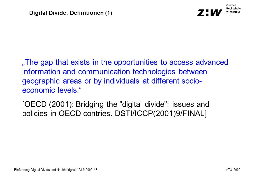 Digital Divide: Definitionen (1)