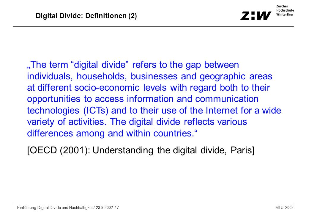 Digital Divide: Definitionen (2)