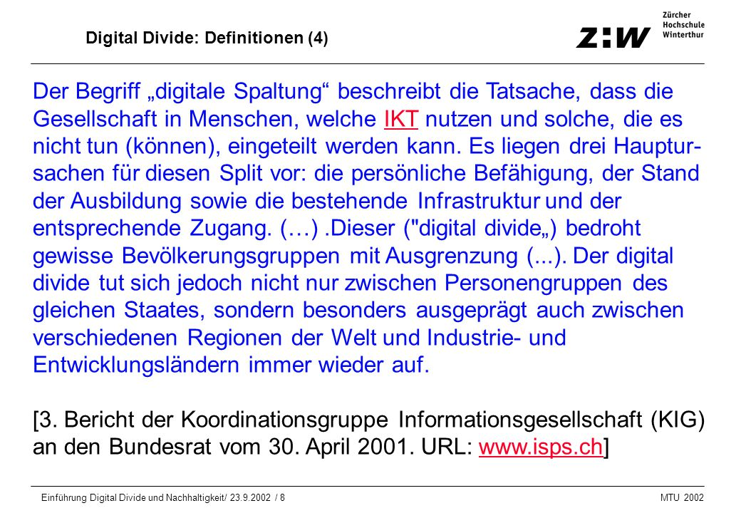 Digital Divide: Definitionen (4)