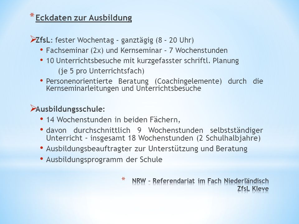 NRW – Referendariat im Fach Niederländisch ZfsL Kleve