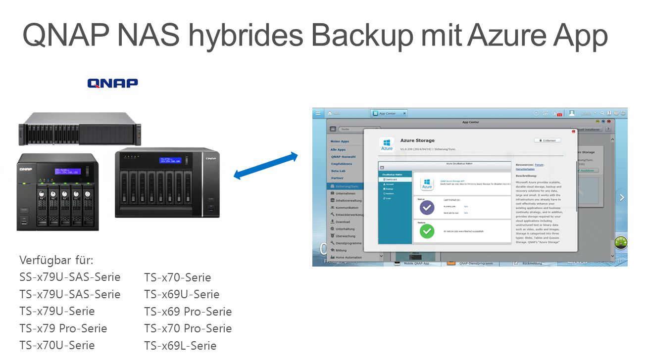 QNAP NAS hybrides Backup mit Azure App
