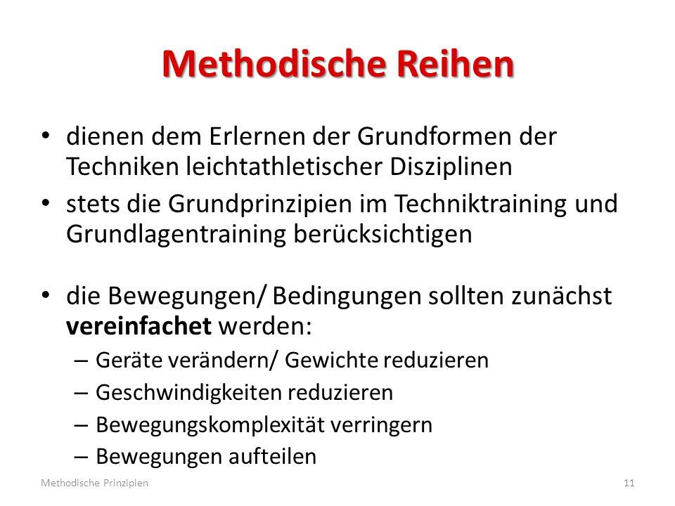 Methodische Reihen dienen dem Erlernen der Grundformen der Techniken leichtathletischer Disziplinen.
