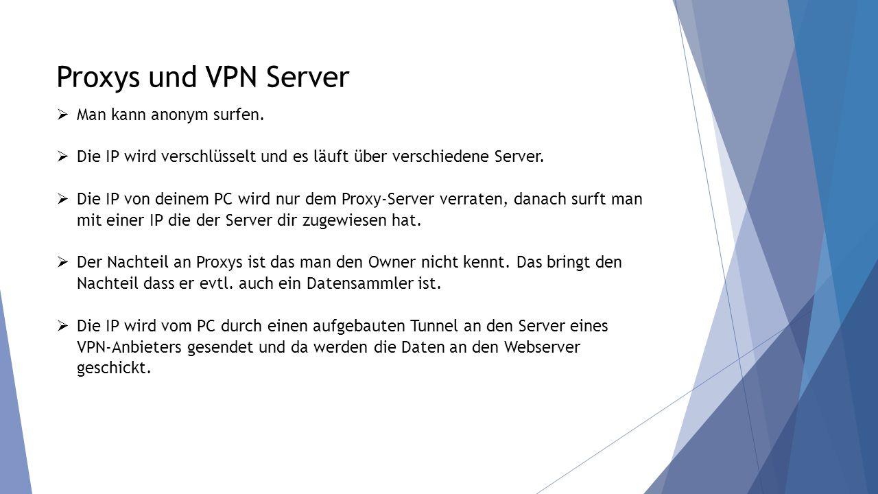 Proxys und VPN Server Man kann anonym surfen.