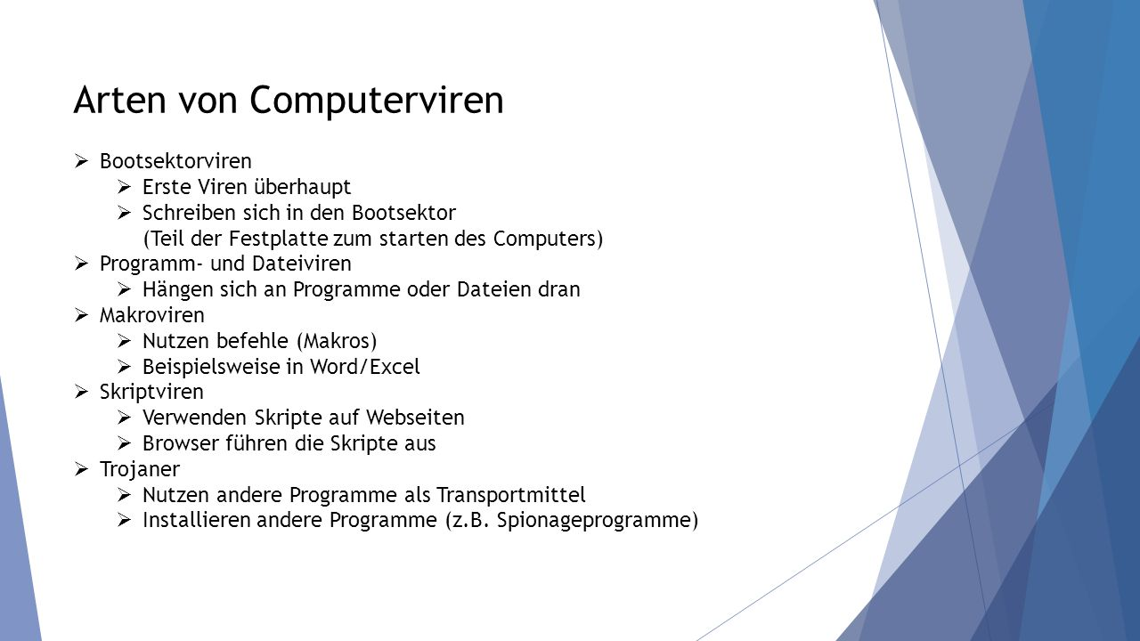 Arten von Computerviren