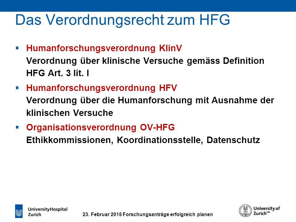 Das Verordnungsrecht zum HFG