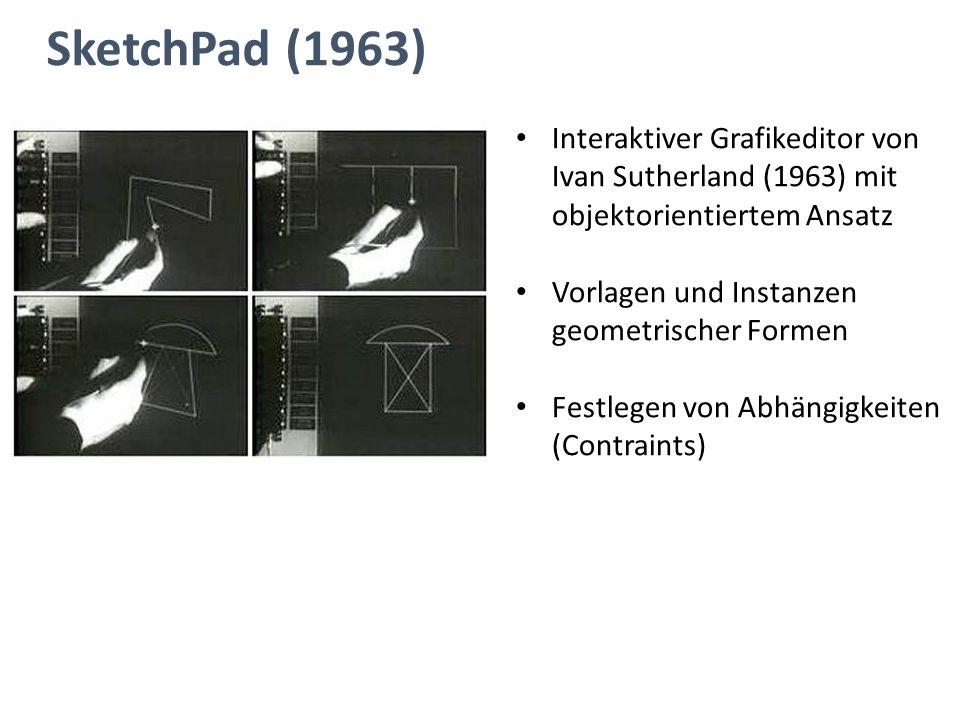 SketchPad (1963) Interaktiver Grafikeditor von Ivan Sutherland (1963) mit objektorientiertem Ansatz.