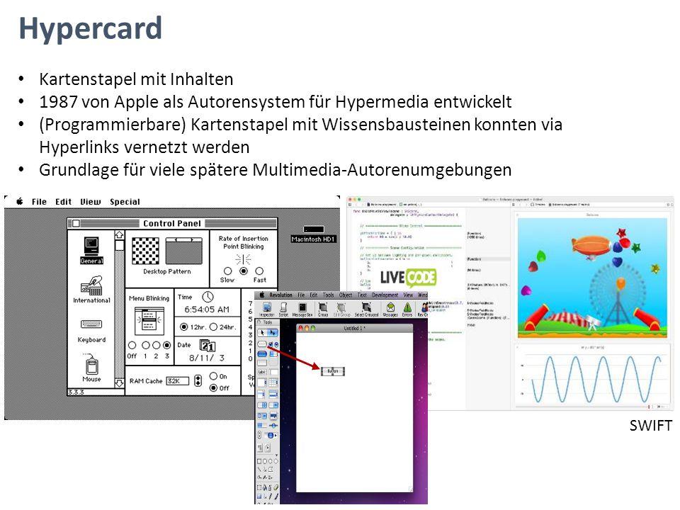 Hypercard Kartenstapel mit Inhalten