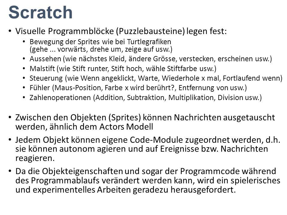 Scratch Visuelle Programmblöcke (Puzzlebausteine) legen fest:
