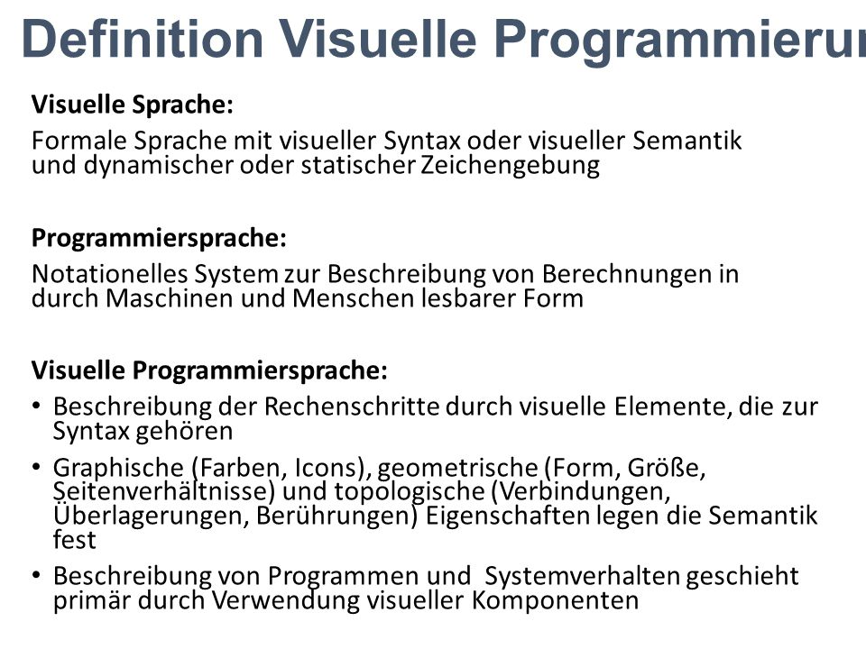 Definition Visuelle Programmierung