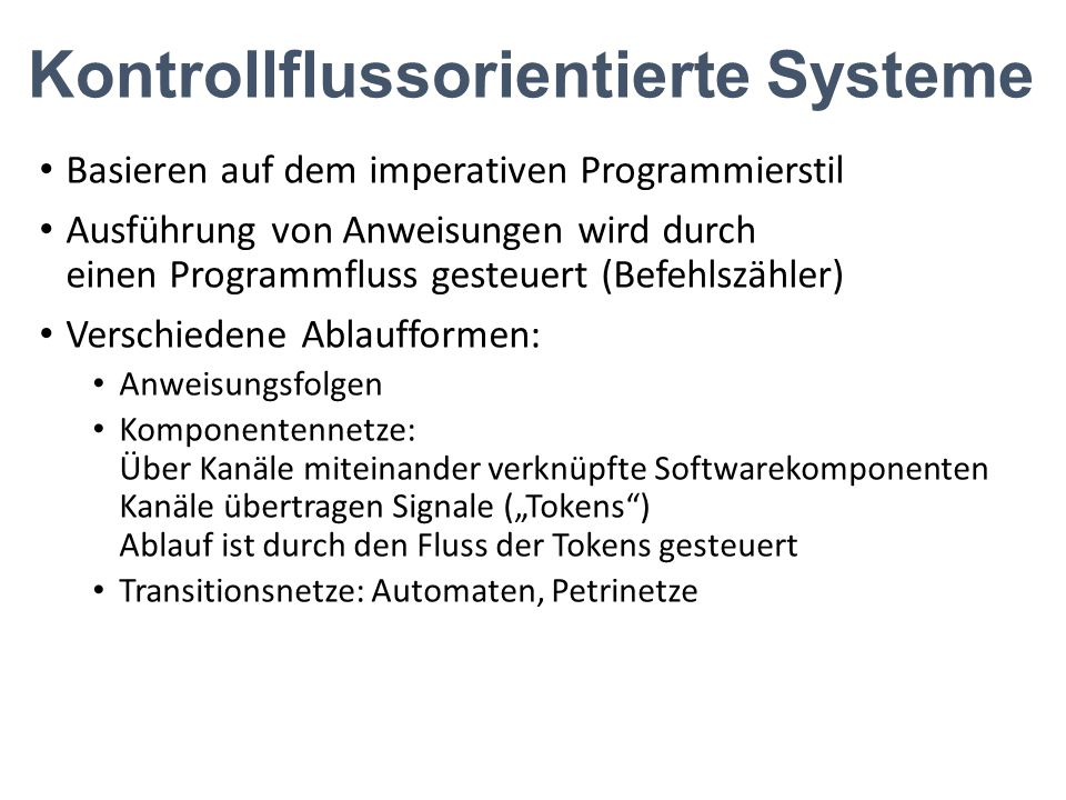 Kontrollflussorientierte Systeme