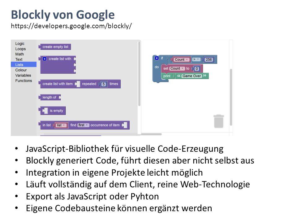 Blockly von Google JavaScript-Bibliothek für visuelle Code-Erzeugung