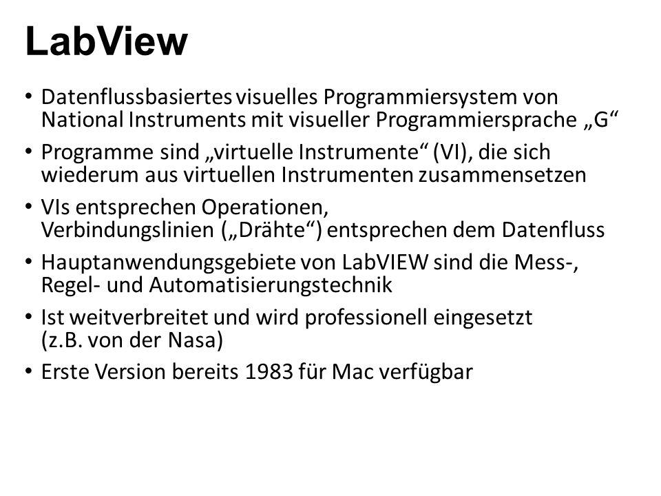 """LabView Datenflussbasiertes visuelles Programmiersystem von National Instruments mit visueller Programmiersprache """"G"""