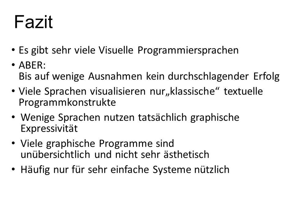 Fazit Es gibt sehr viele Visuelle Programmiersprachen