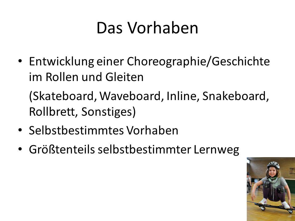 Das Vorhaben Entwicklung einer Choreographie/Geschichte im Rollen und Gleiten. (Skateboard, Waveboard, Inline, Snakeboard, Rollbrett, Sonstiges)