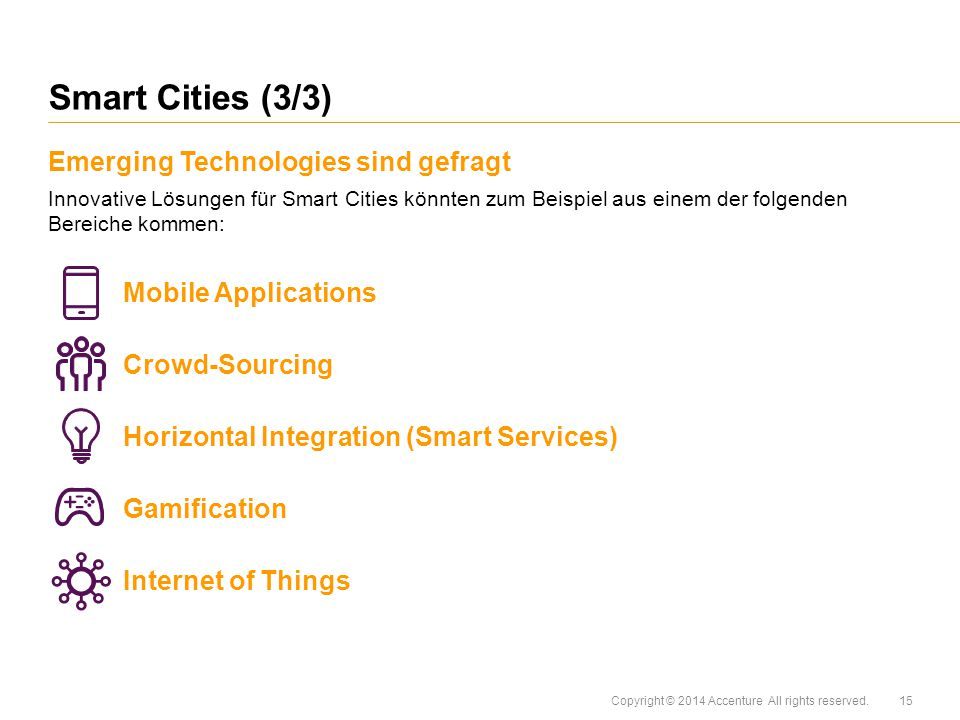 Smart Cities (3/3) Emerging Technologies sind gefragt